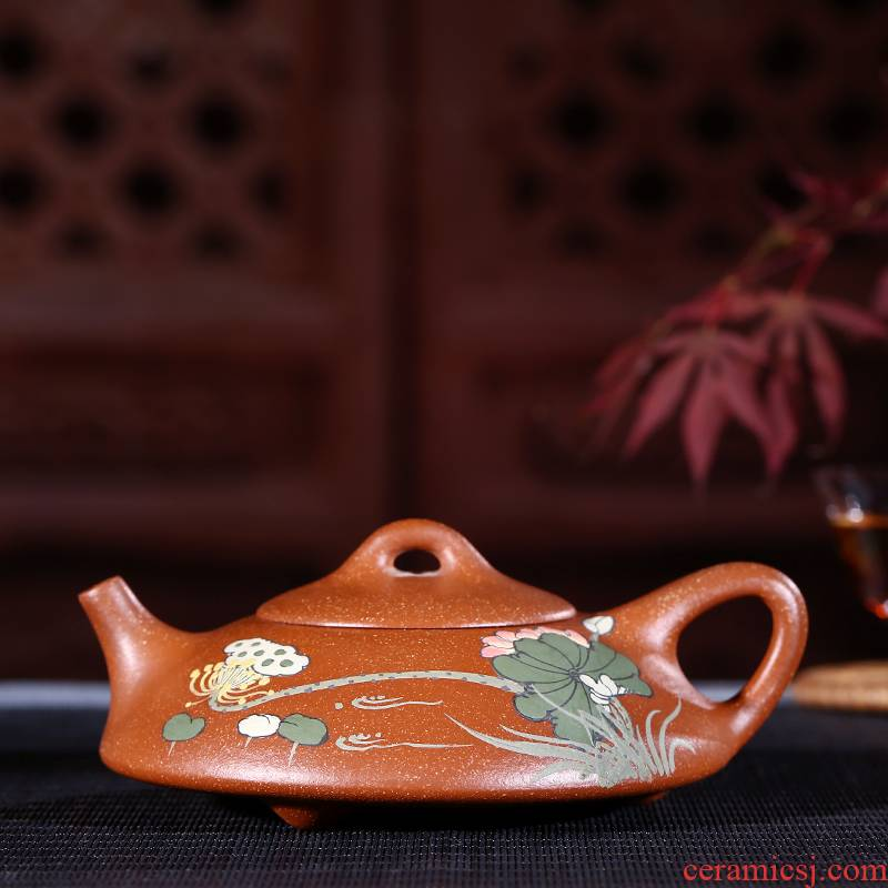 Yixing authentic undressed ore dragon sand flat stone gourd ladle pot of 180 ml of blood are it by hand (with certificate)