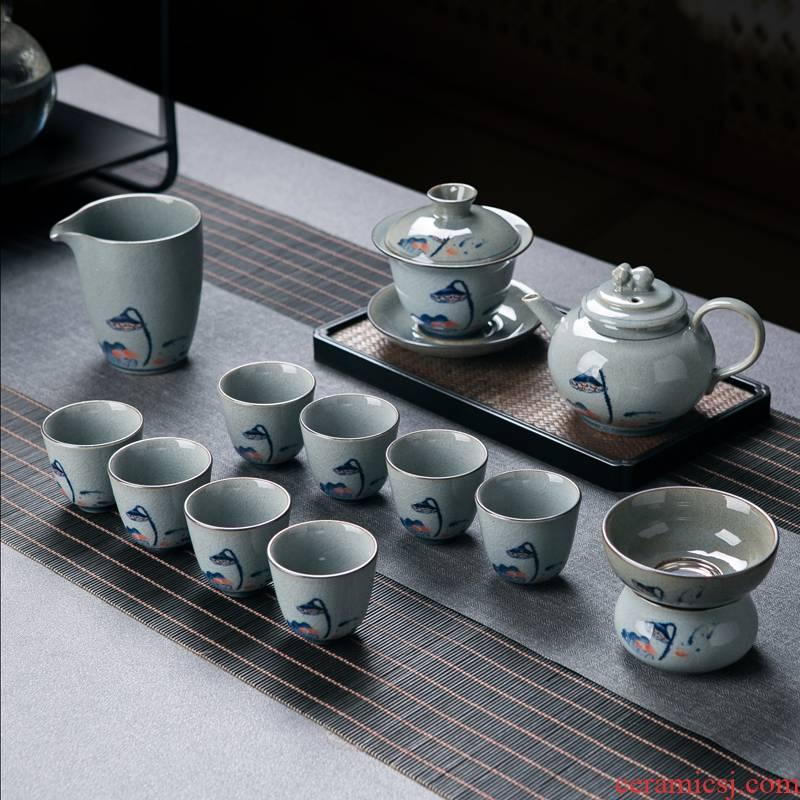 Jingdezhen ceramic porcelain tea set suits for home office receive a visitor the manual coarse pottery teapot kunfu tea tureen