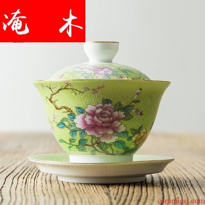 Flooded wooden pick flowers tureen large white porcelain of jingdezhen ceramics pastel colored enamel three bowl kung fu tea set