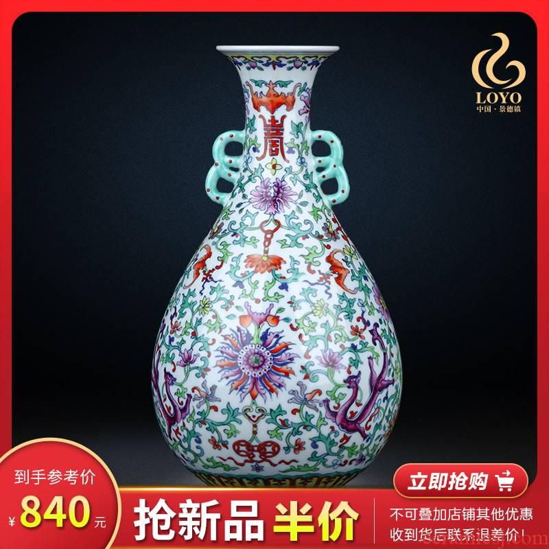 Blue and white porcelain of jingdezhen ceramics okho spring Chinese porcelain vase decoration flower arranging the sitting room TV ark, furnishing articles