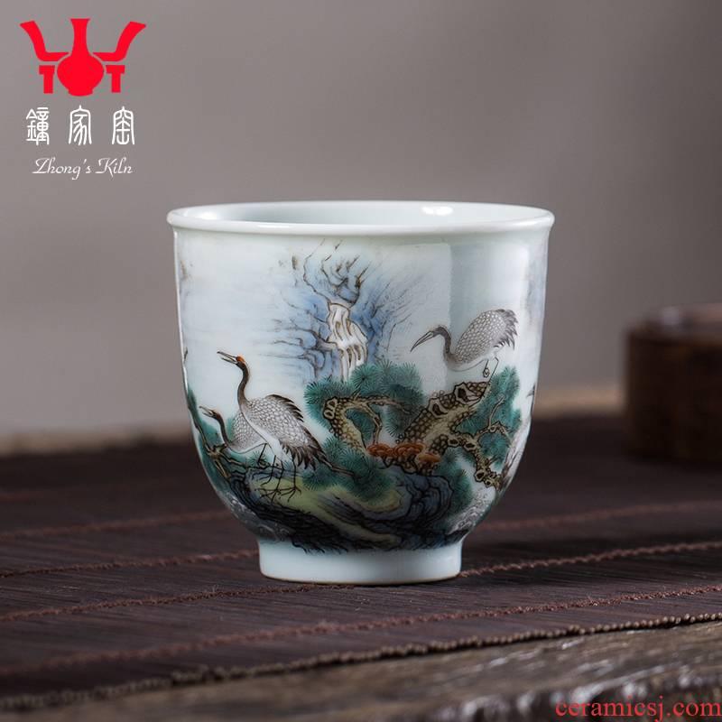 Clock home trade, one cup of single CPU jingdezhen high - end colored enamel pine crane took sniff ceramic cups sample tea cup