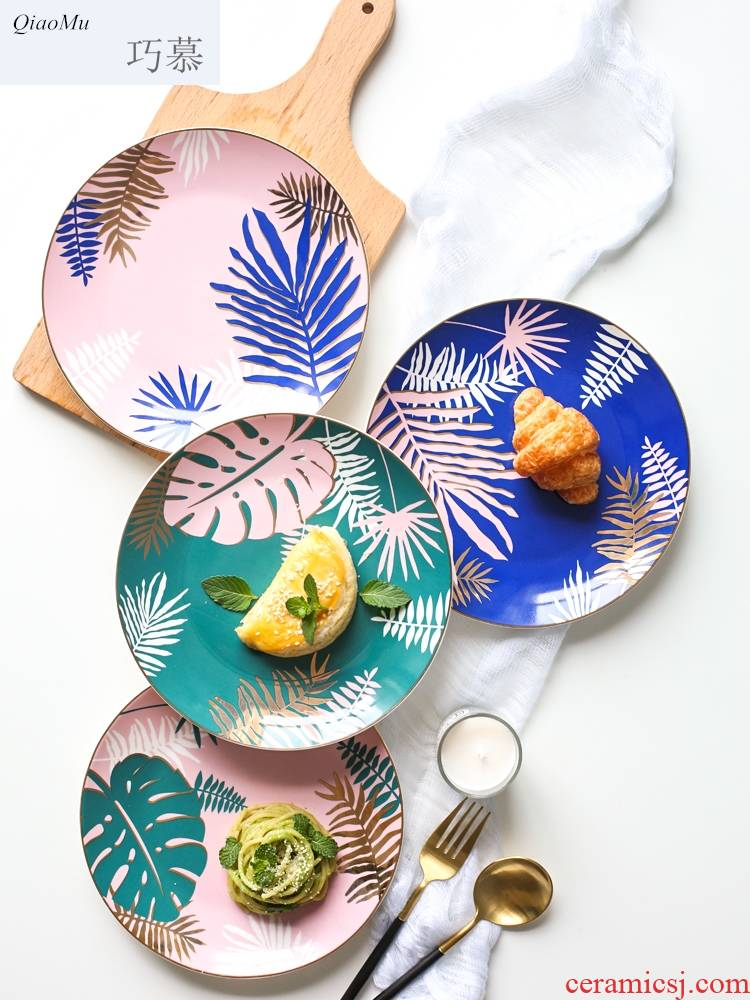 Qiao mu ins Nordic light much wind see colour ceramic plates home plate of creative steak dish food dish A - 38
