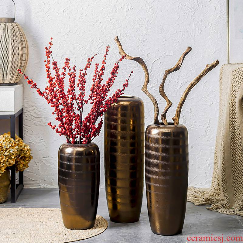 Retro coarse pottery archaize great pottery flower arrangement sitting room ceramic dried flowers to decorate the courtyard furnishing articles furnishing articles of large vase