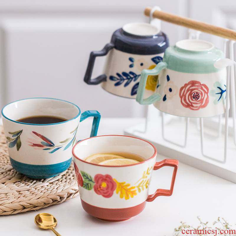 The Theme of the four seasons ceramic household ultimately responds a cup of tea cups of coffee mugs office cup creative hand - made picking cups