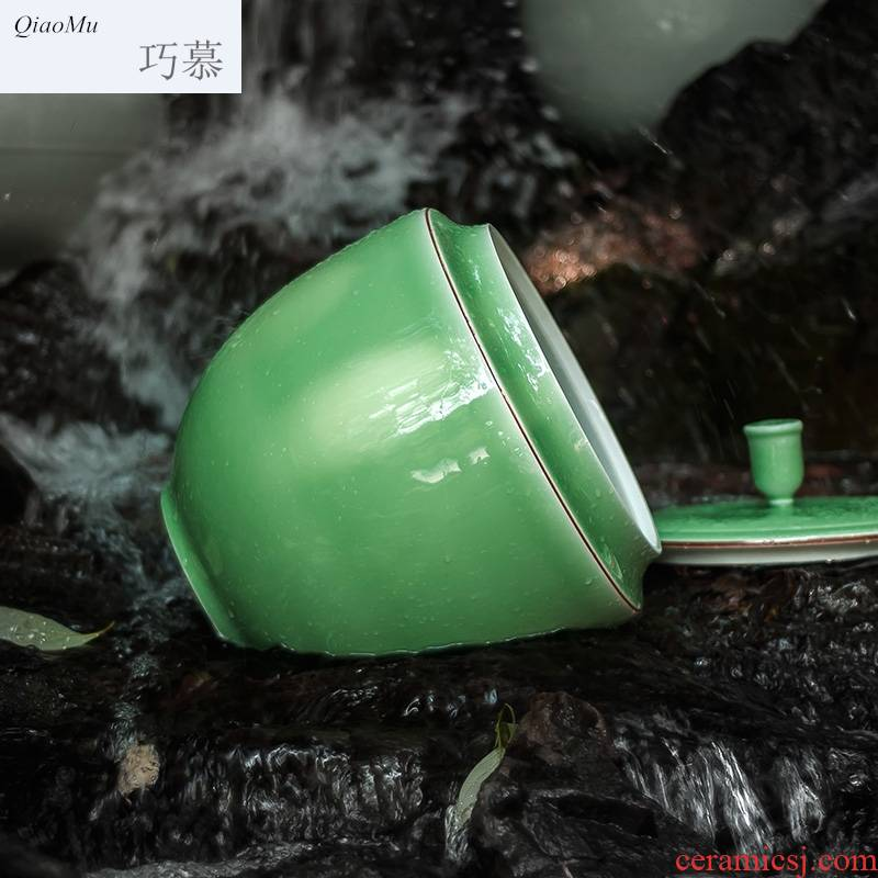 Qiao mu jingdezhen ceramic insect - resistant barrel ricer box shadow celadon large tea tea cylinder cylinder dry storage in the kitchen