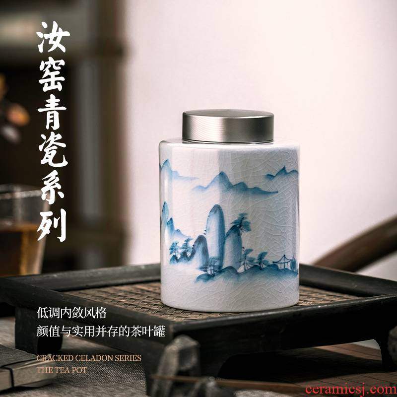"""Jingdezhen ceramics your up crack caddy fixings half jins of """"tieguanyin"""" blue and white hand draw archaize home seal"""