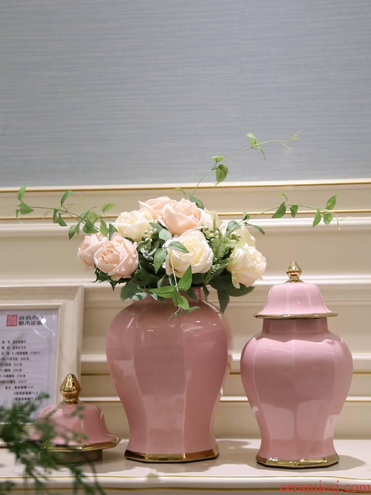 Jingdezhen decorates sitting room porch light European - style key-2 luxury furnishing articles vase simulation for household decoration flower flower arranging flowers
