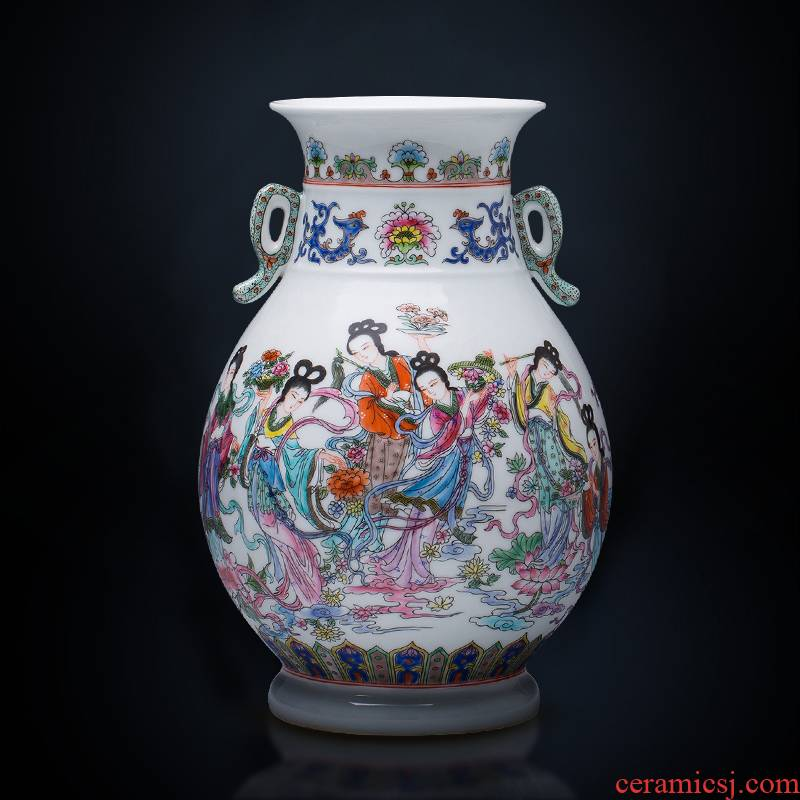 Jingdezhen ceramics hand - made vases pastel f tube retro porcelain of the sitting room of Chinese style household wine accessories furnishing articles