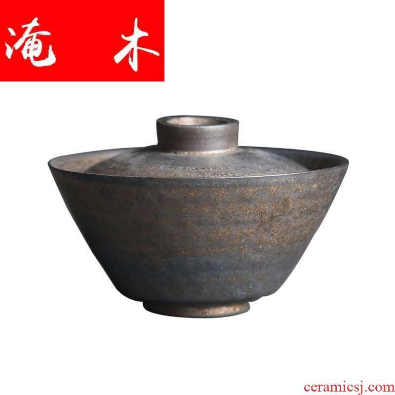 Submerged wood checking coarse pottery tureen up metal glaze tureen coarse pottery tea gold make tea bowl