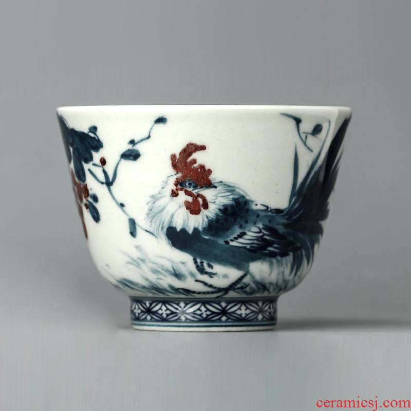 Jingdezhen blue and white youligong master cup single cup pure manual hand - made big chicken kung fu tea set sample tea cup only
