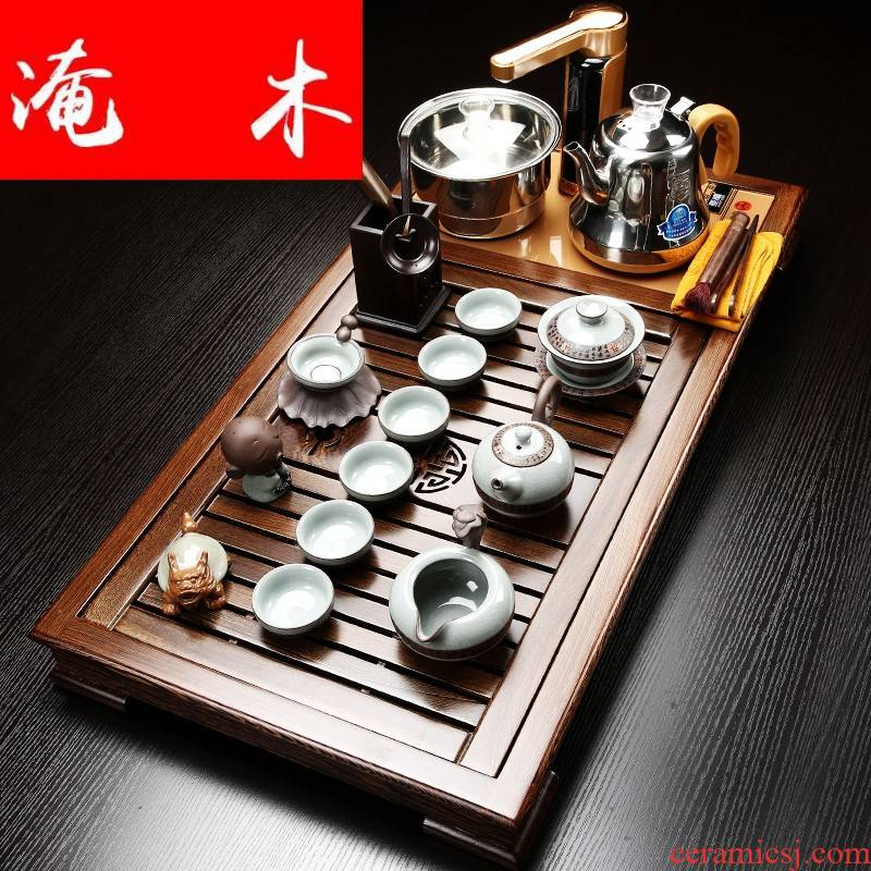 Flooded the whole household wenge wood tea tray was violet arenaceous elder brother up kung fu tea set contracted and I tea table induction cooker