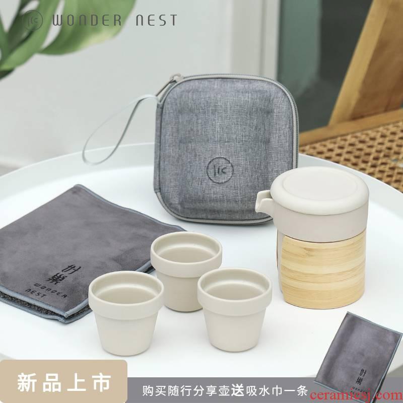 Good nest mu en crack against a pot of hot ceramic three travel kung fu tea sets portable receive tea set