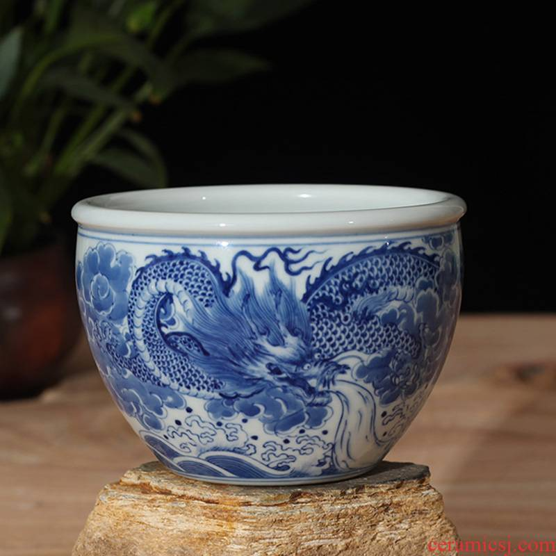 Jingdezhen blue and white dragon grain ceramic cylinder manually garden display aquarium the flat blue cylinder display that occupy the home furnishing articles