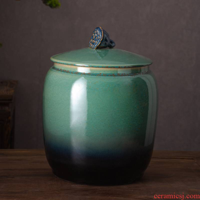 Jingdezhen ceramic barrel 20 jins 30 jins the loaded with cover rice pot ricer box insect - resistant, moisture - proof seal storage bins