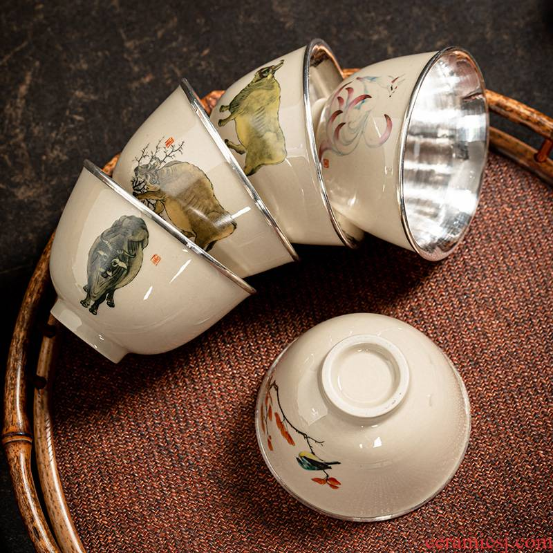 Jingdezhen porcelain silvering teacups hand - made male woman single small cup silver cup 999 sterling silver bladder sample tea cup