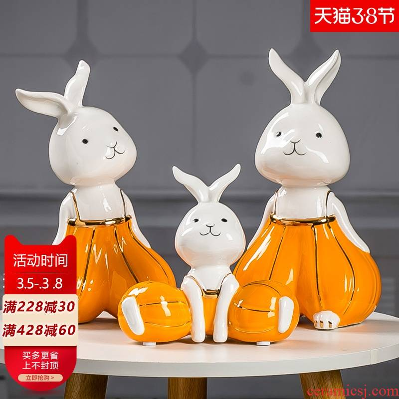 """Lucky rabbit """"and the sheep ceramic furnishing articles three wine accessories creative home TV ark, Nordic light of key-2 luxury"""