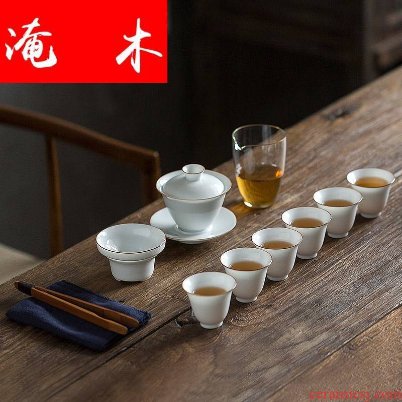 Submerged wood jingdezhen mud tureen tea suit white jade jade porcelain contracted kung fu tea set upscale gift box logo