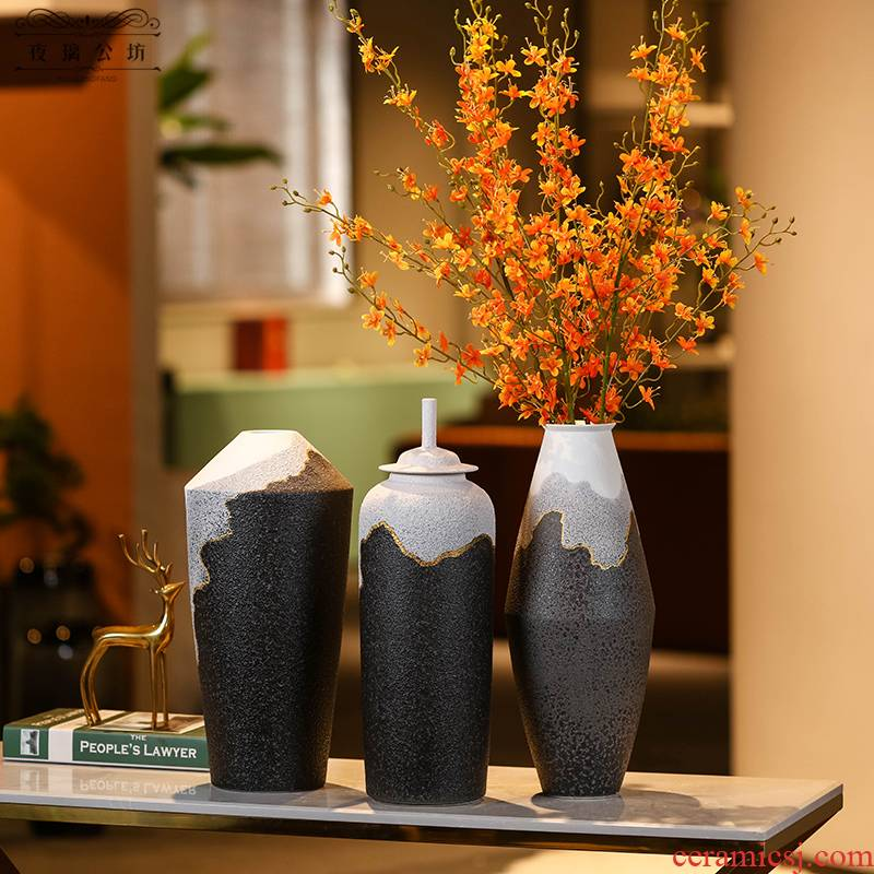 Simple ceramic furnishing articles new grinding process vases, flower arrangement, the modern household adornment style living room