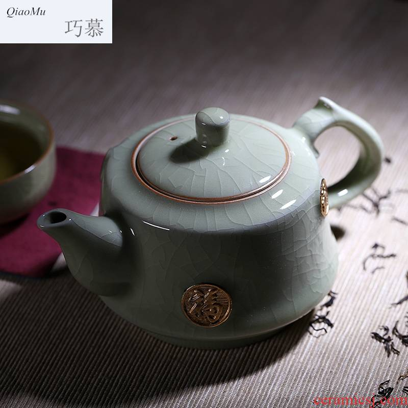 Qiao mu longquan celadon kung fu tea set of a complete set of ice crack porcelain ceramic teapot teacup elder brother up with Mosaic of pure gold