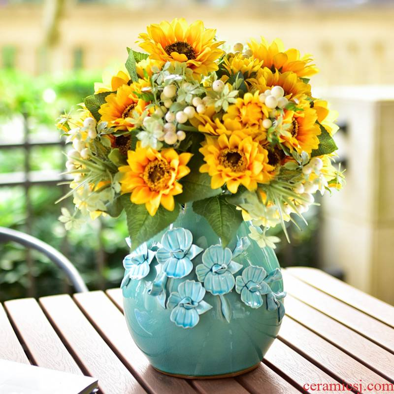 Manual blue vase ceramic dry flower arranging flowers is I and contracted sitting room adornment European flower arranging sets of decorative furnishing articles