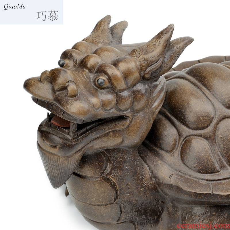 Qiao longed for large - sized purple sand tea pet lucky place tea tea and play creative hand - carved town, the mythical wild animal dragon tortoise beast