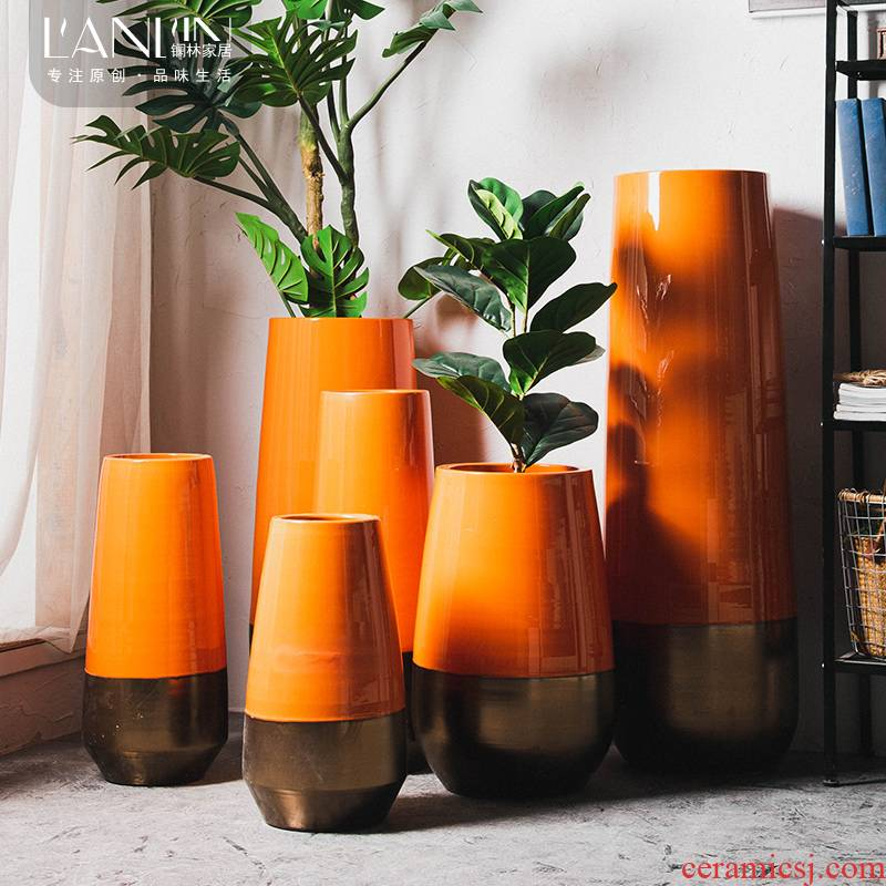 North European style of large vase furnishing articles dried flower arranging flowers sitting room adornment gulp creative contracted jingdezhen ceramic bottle