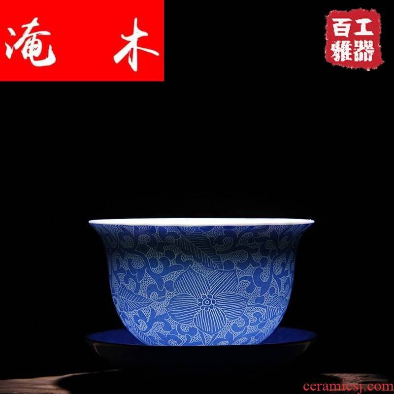 Submerged wood jingdezhen ceramic tea set, grilled spend rolling process tureen three to tureen famille rose porcelain product launches