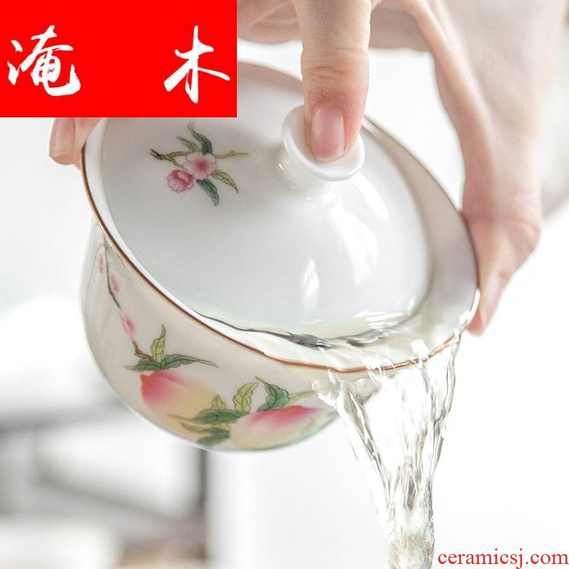 Submerged wood jingdezhen hand - made only three tureen pure manual pegatron peach sweet white porcelain ceramic tea cups hot famille rose tea
