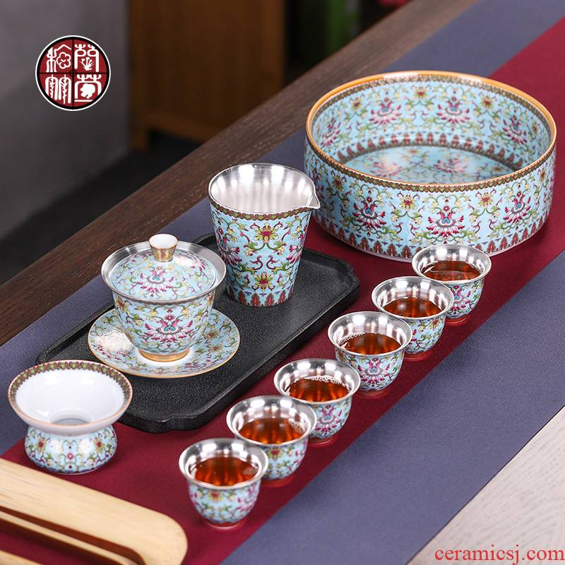 Chinese colored enamel coppering. As silver tea sets a visitor office of a complete set of ceramic tea tureen tea cups household 6 people