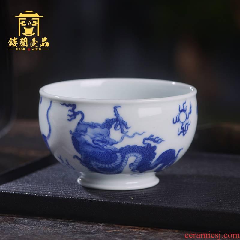 Home benevolence hand - made porcelain of jingdezhen ceramics five LingTu master of kung fu tea tea cup single cup of tea