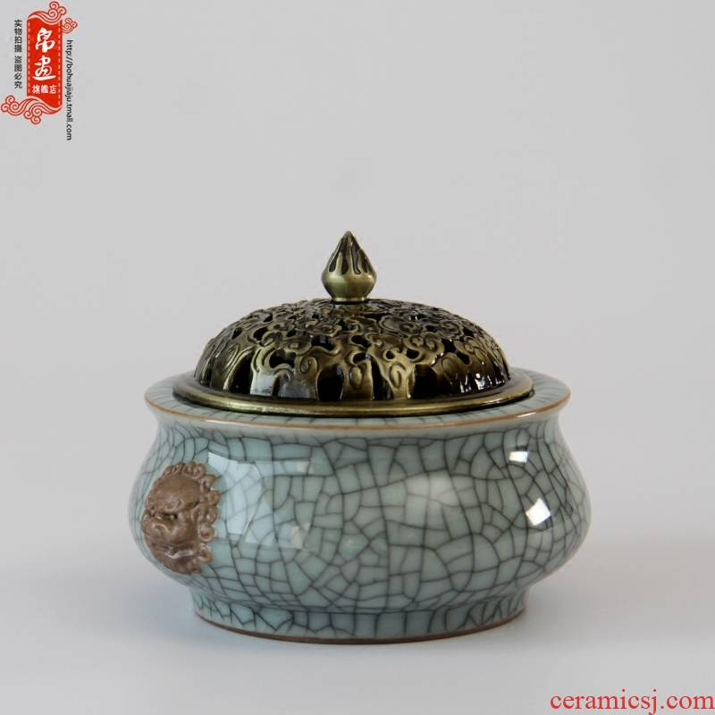 Celadon incense inserted ceramic alloy cover plug-in on double head incense plug-in aloes incense coil incense inserted into the tower