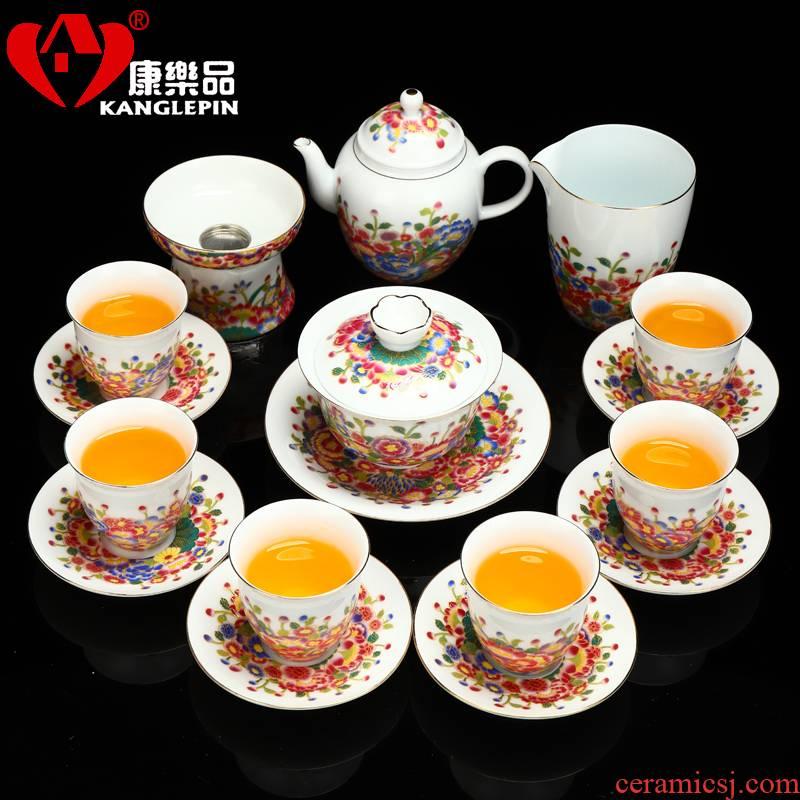 Recreational product ceramic butterfly flower tureen tea set colored enamel teapot teacup tea bowl of blue and white porcelain tea set