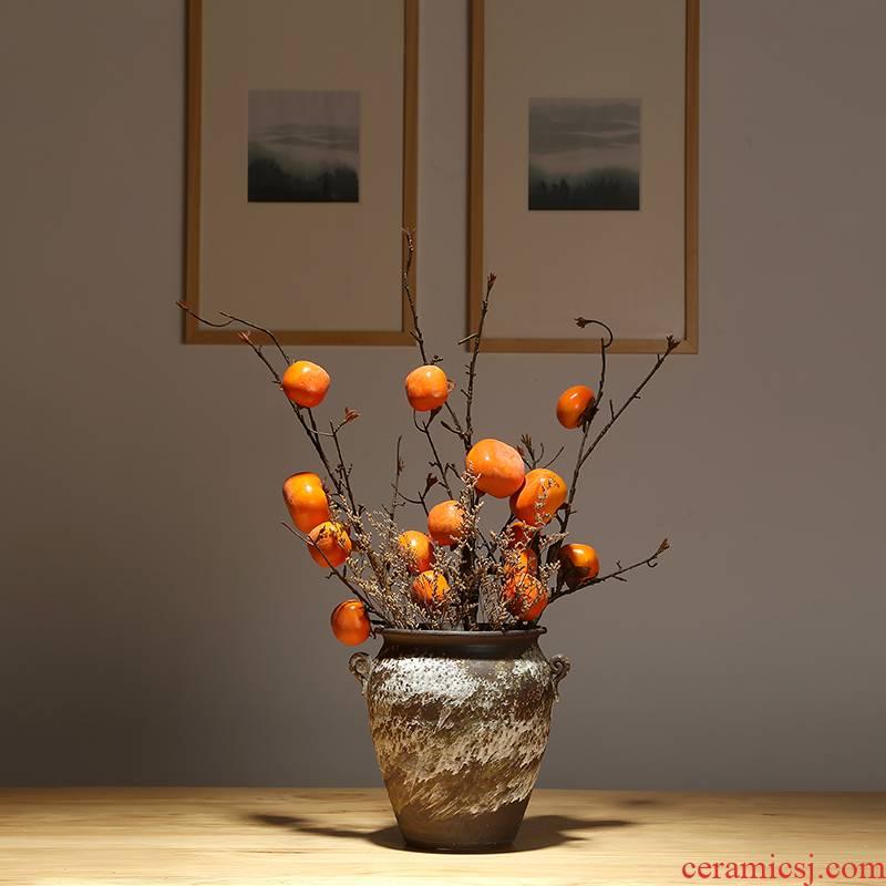 Jingdezhen ceramics dried flower vase household living room TV ark, simulation flower decoration ideas of new Chinese style decoration