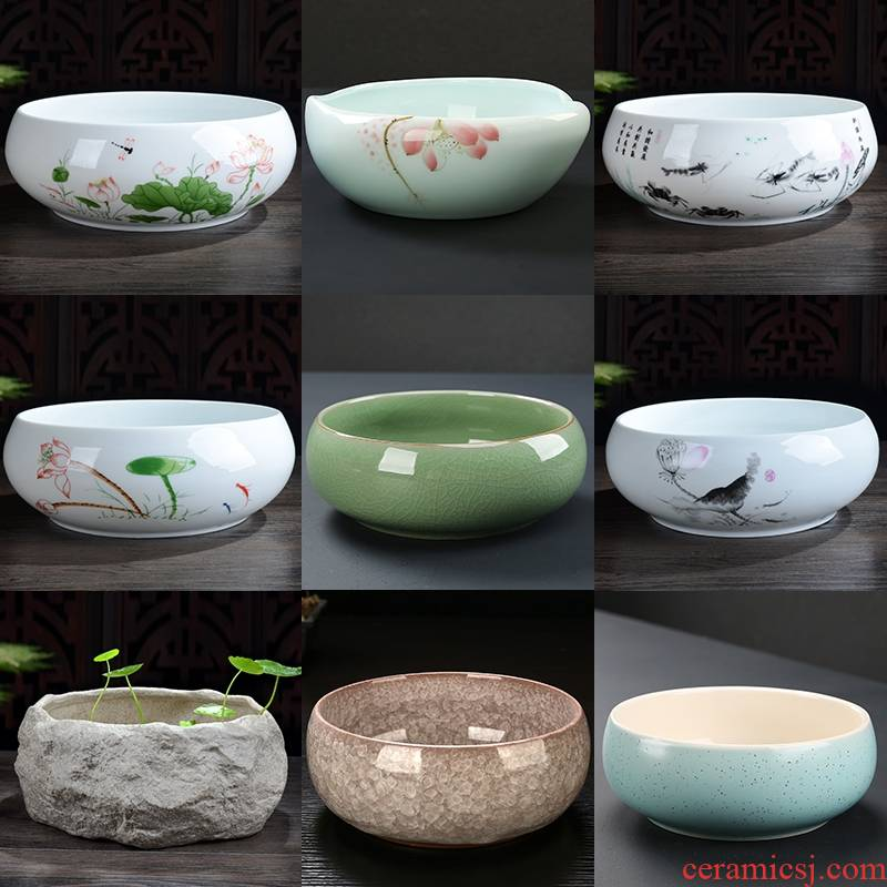 Bowl lotus basin cylinder refers to flower pot water lily hydroponic plant container ceramic fleshy landscape tower bamboo desktop sitting room office