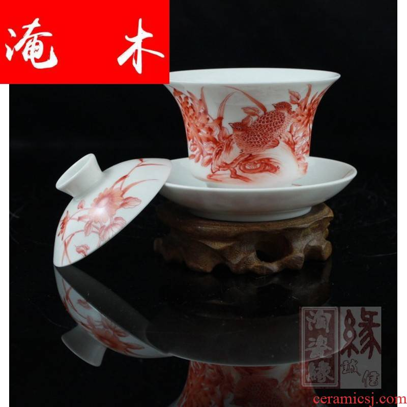 Flooded, the rhyme of jingdezhen hand - made archaize of famille rose porcelain tea tureen pu - erh tea gifts the the CW