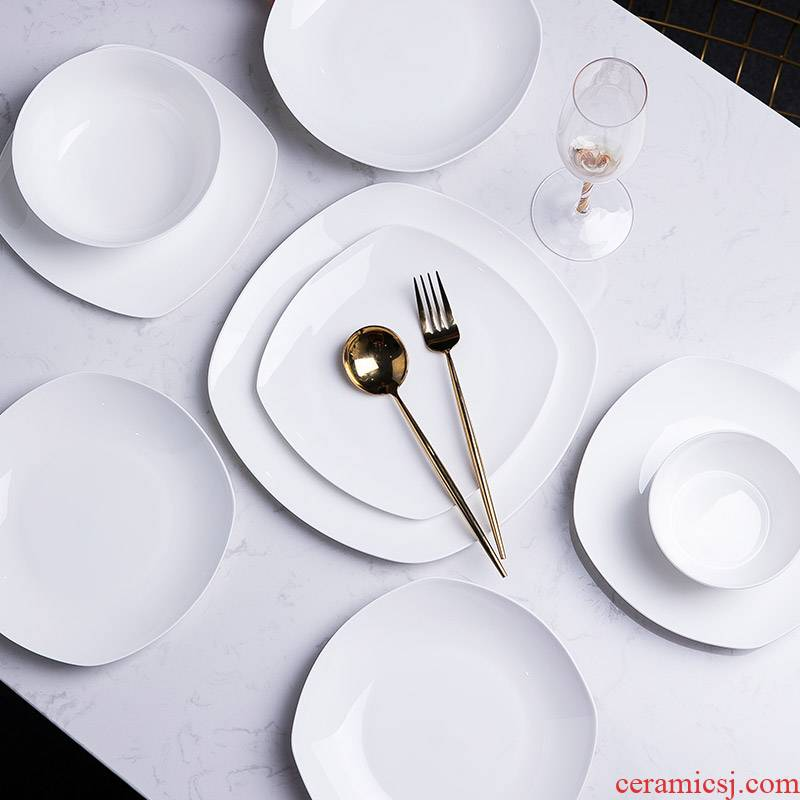 Pure white ipads, jingdezhen porcelain tableware suit household contracted Chinese style style appearance, high level ceramic dishes dishes