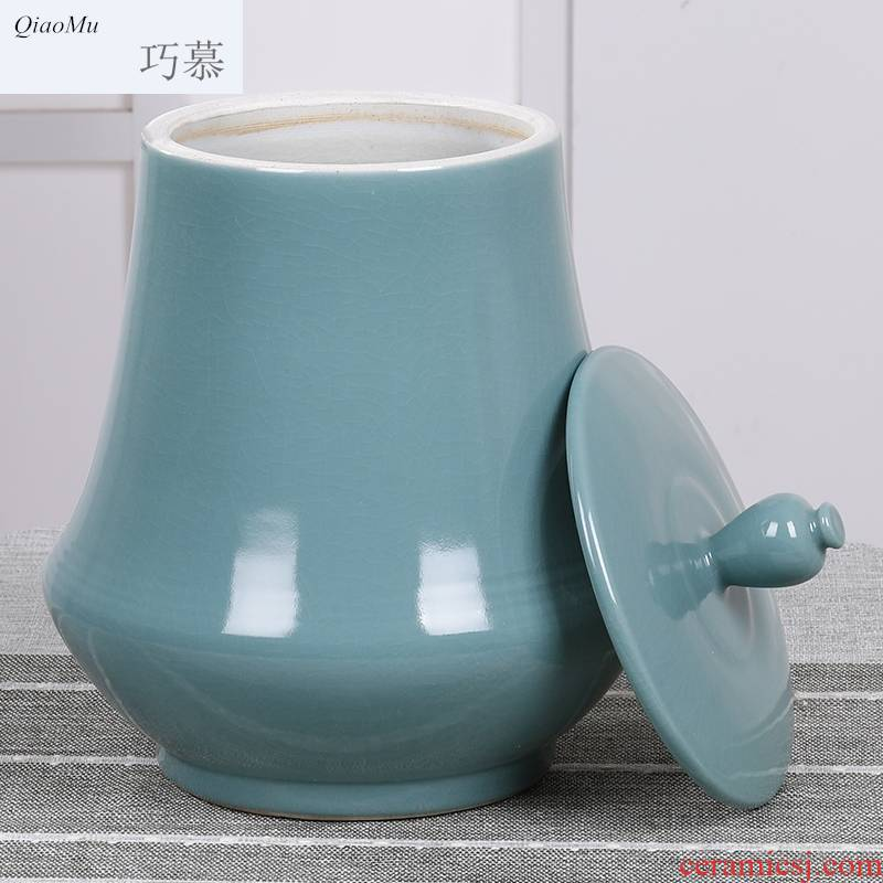 Qiao mu ceramics with cover barrel 20 jins of jingdezhen domestic large capacity storage tanks containing insect - resistant moistureproof flour boxes
