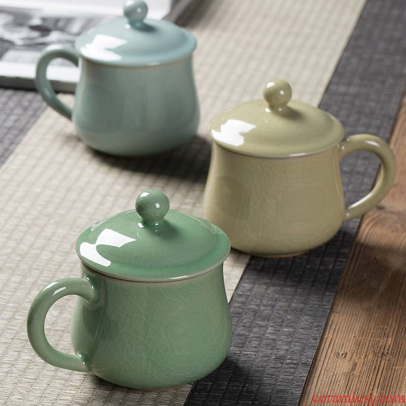 Longquan celadon ceramic cups office of Chinese style household archaize crack mark cup personal special tea cups