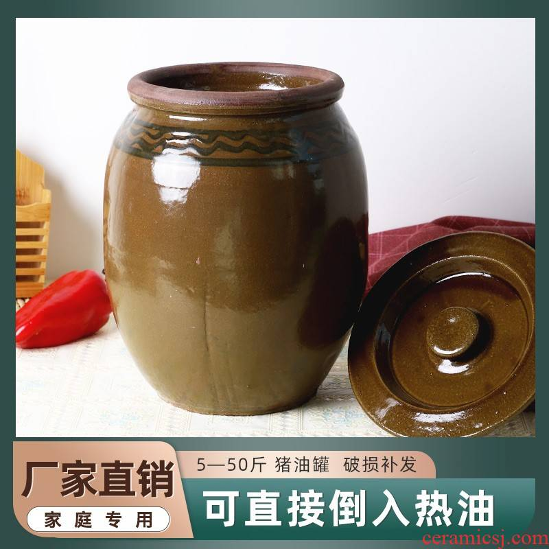 Pickles cylinder crock earthenware jar with cover household kitchen old high temperature resistant containers Chinese seasoning the pot