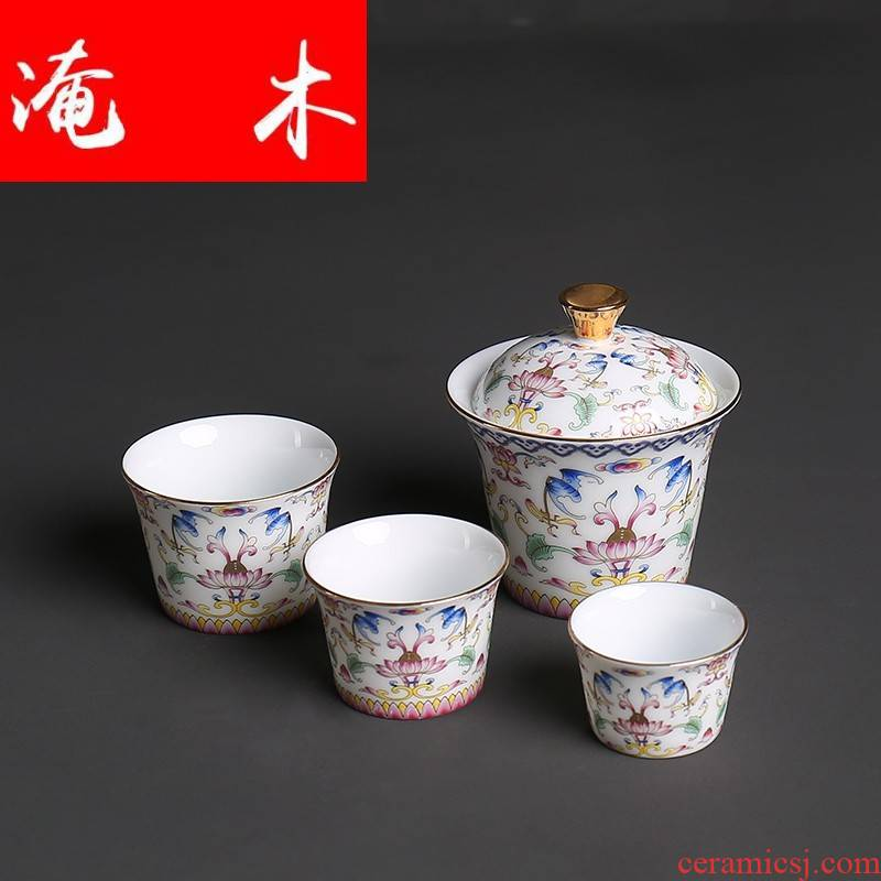 Flooded jingdezhen wood pick flowers tureen tea cup kung fu tea set porcelain enamel see only three worship bowl tea cups