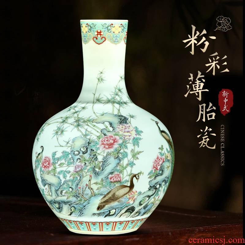 Jingdezhen famille rose porcelain vase furnishing articles of Chinese style living room wine rich ancient frame flower arranging decorative porcelain arts and crafts