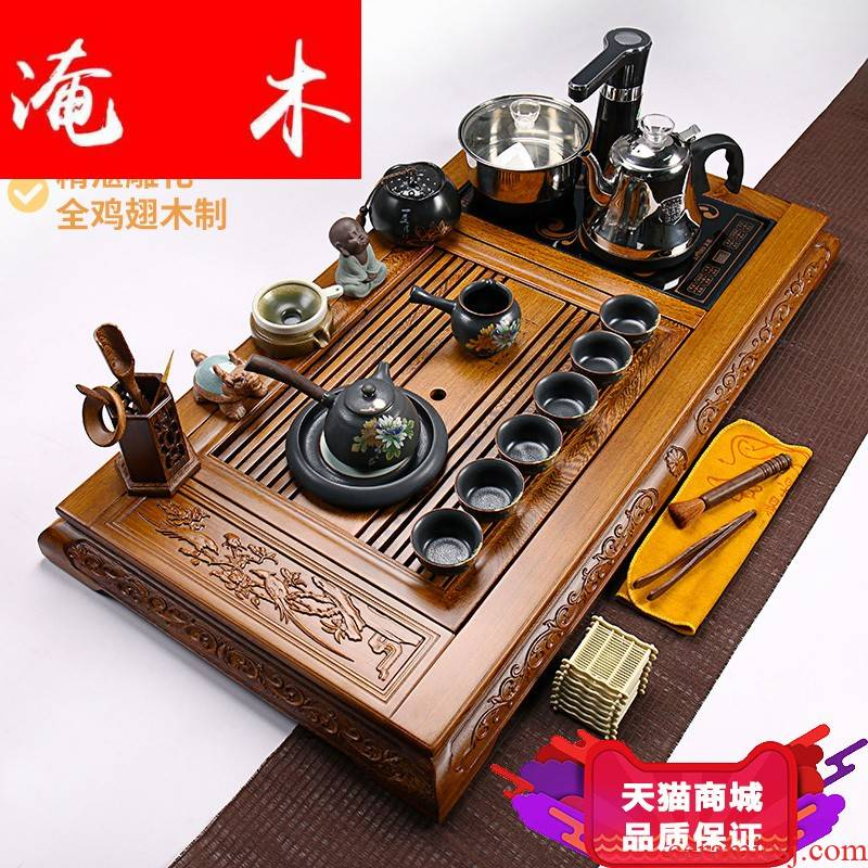 Flooded wenge wood tea tray was real wood of a complete set of four combination of ceramic tea set kung fu tea tea tea set