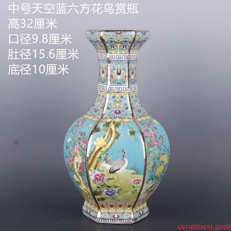 Medium the qing qianlong see colour enamel painting of flowers and the six - party antique craft porcelain vase household Chinese penjing collection
