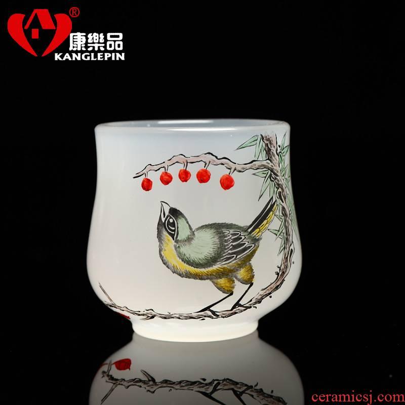 Recreational products under the coloured glaze jade porcelain glaze colorful pure hand - made kung fu tea tea cup sample tea cup glass sheet fullness