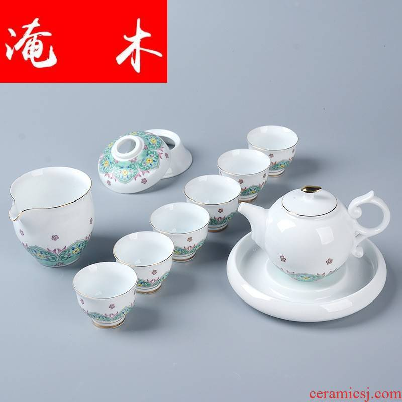Submerged wood 2016 new boutique kung fu tea set white porcelain enamel see colour baihua cup lid bowl of high - end gift box