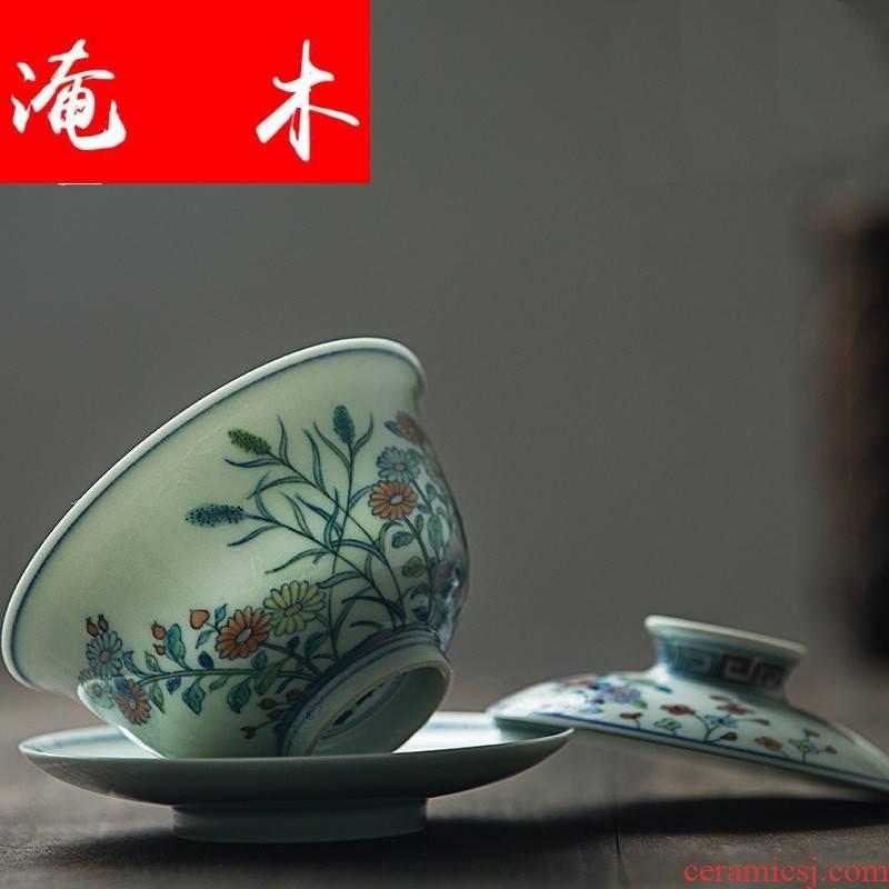 Flooded the wooden bucket capacity up tureen ceramic large hand - made jingdezhen manual enamel three bowl of tea set