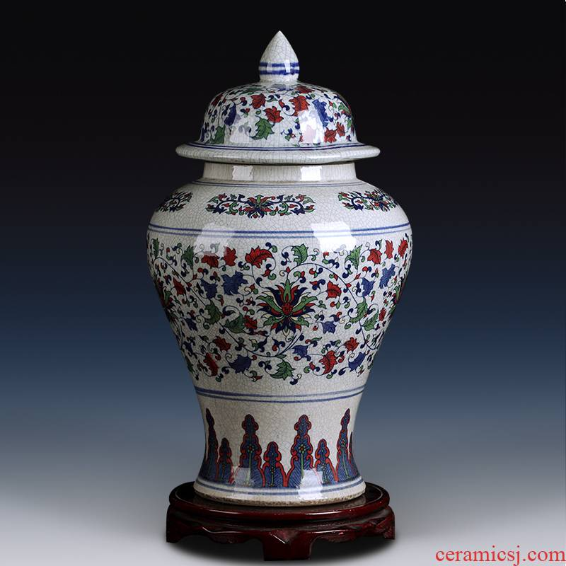 Blue and white porcelain of jingdezhen ceramics general tank furnishing articles large storage tank Chinese sitting room porch home decoration