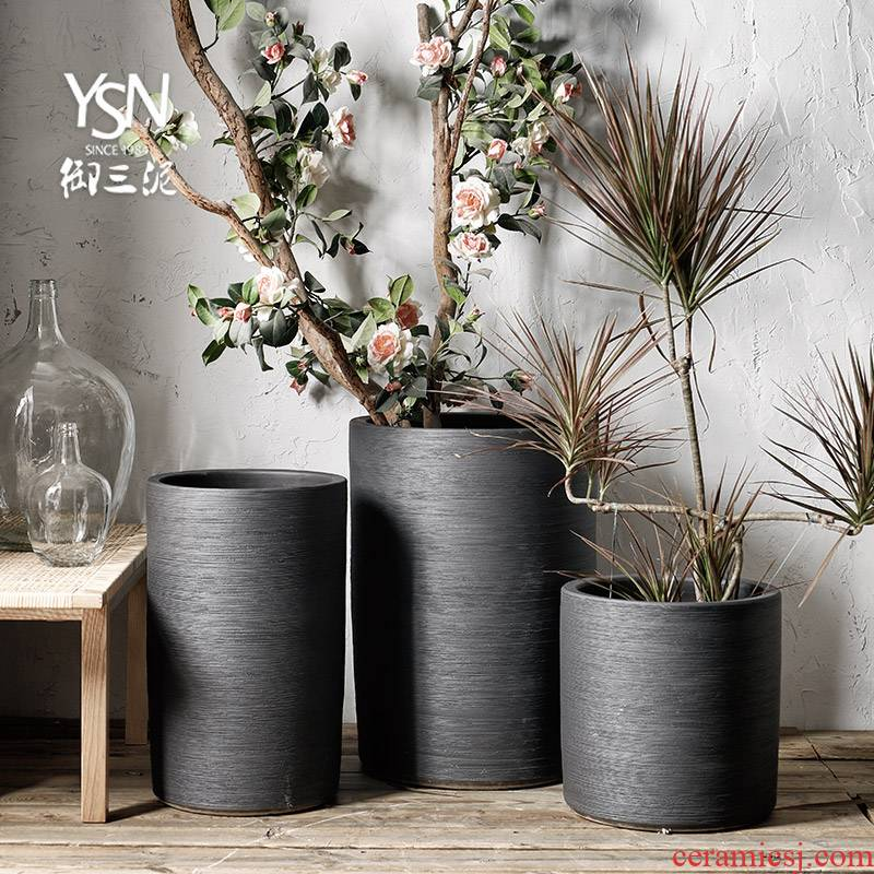 Nordic flowerpot contracted pure black ceramic flower bed modern indoor and is suing decoration to heavy green plant planting place flowerpot