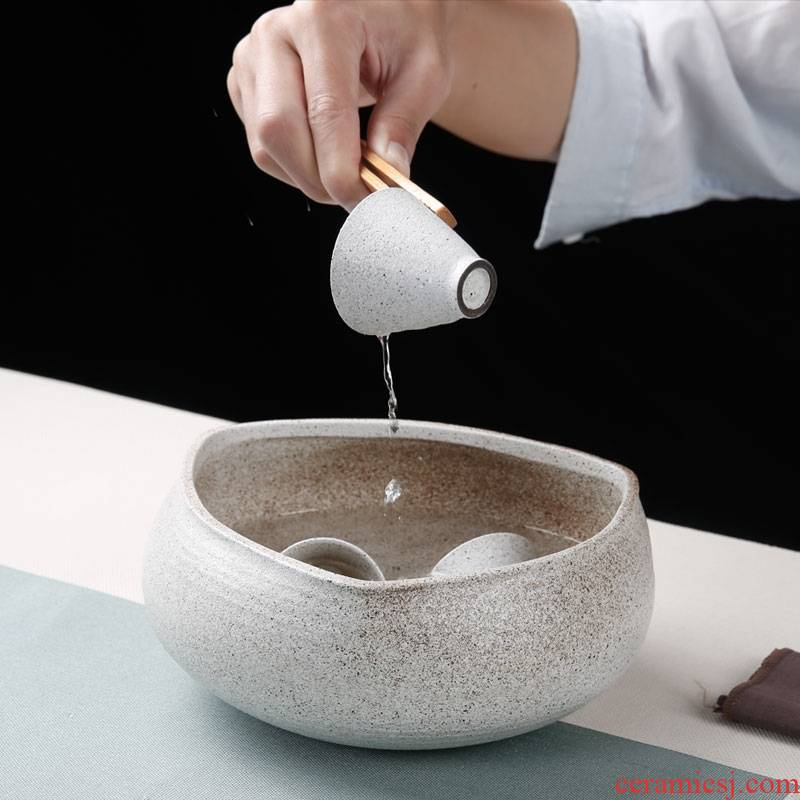 Qiao mu coarse pottery triangle tea wash to ceramic wash bowl washing dishes kung fu tea accessories cup hot wash to the writing brush washer from cylinder