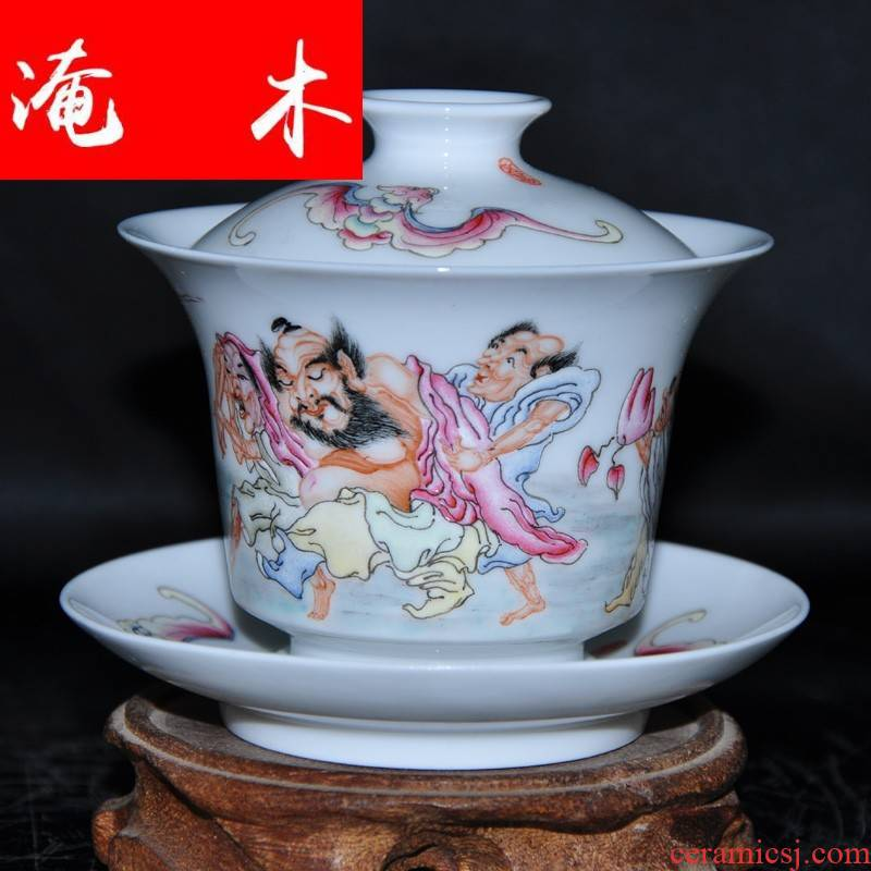 Submerged wood jingdezhen hand - made famille rose porcelain tea tureen only three cup Jin Hongxia hand bowl